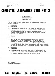 Computer Laboratory User Notice CLUN 141